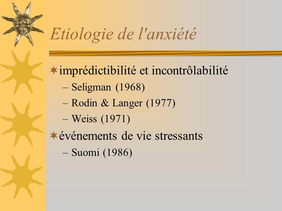 Etiologie de l anxiété imprédictibilité et incontrôlabilité