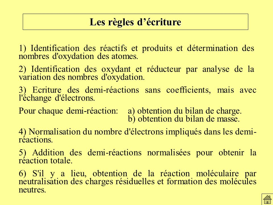 Les règles d 'écriture Les règles d'écriture. 1) Identification des réactifs et produits et détermination des nombres d oxydation des atomes.