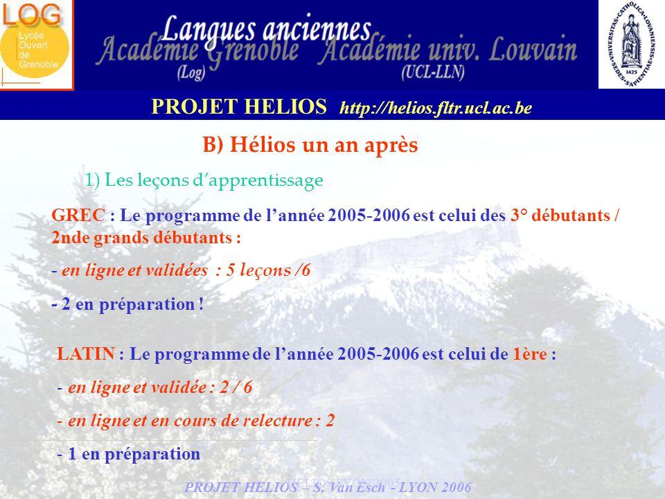 B) Hélios un an après 1) Les leçons d'apprentissage