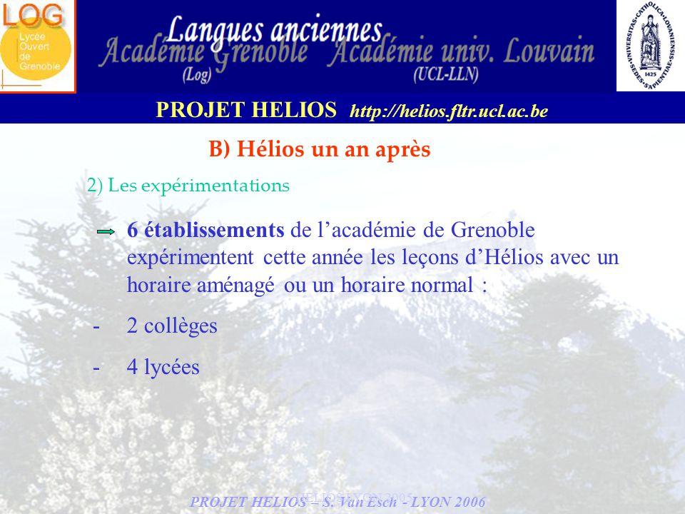 B) Hélios un an après 2) Les expérimentations.