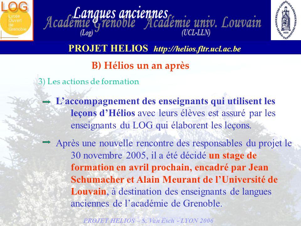 B) Hélios un an après 3) Les actions de formation.