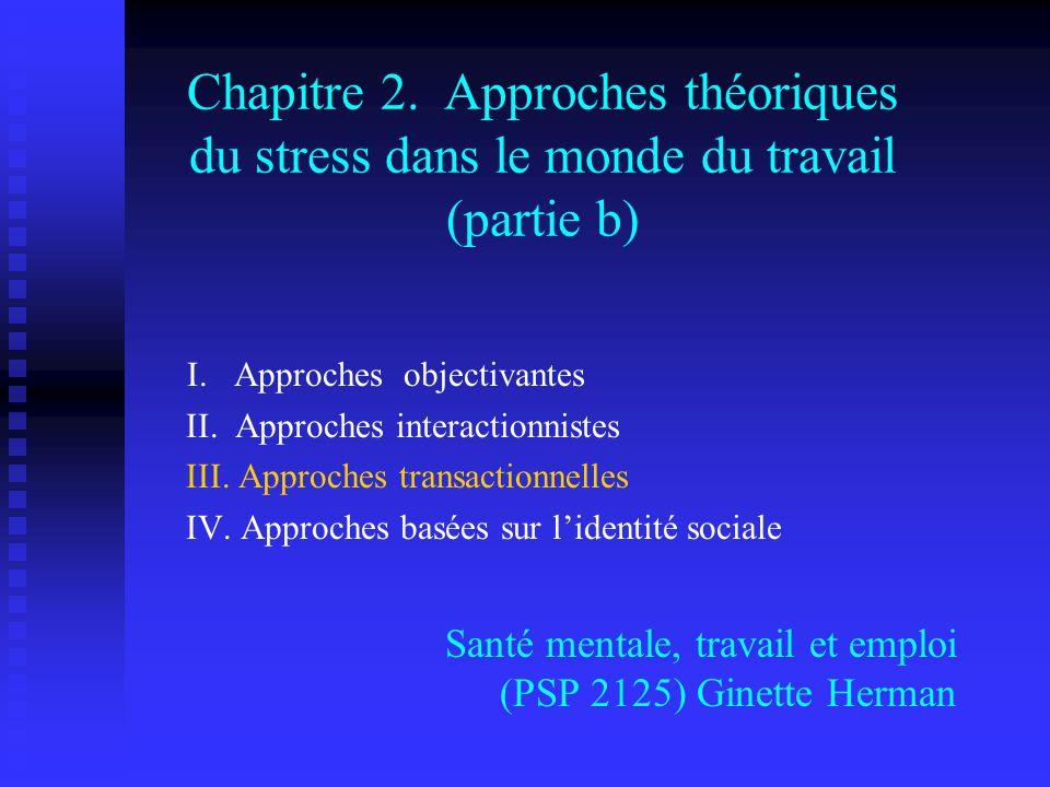 Chapitre 2. Approches théoriques du stress dans le monde du travail (partie b)