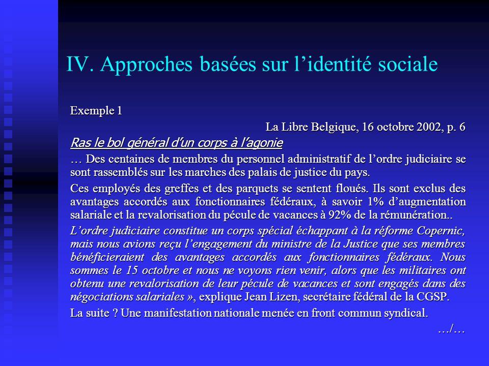 IV. Approches basées sur l'identité sociale