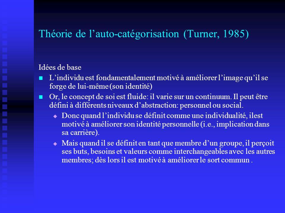 Théorie de l'auto-catégorisation (Turner, 1985)