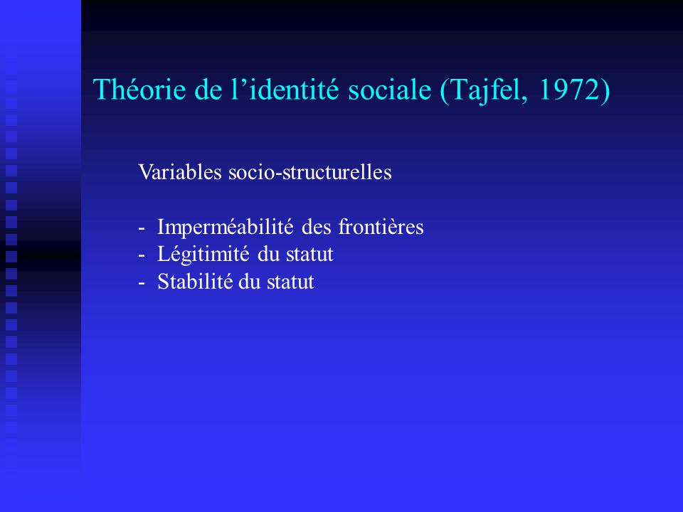 Théorie de l'identité sociale (Tajfel, 1972)