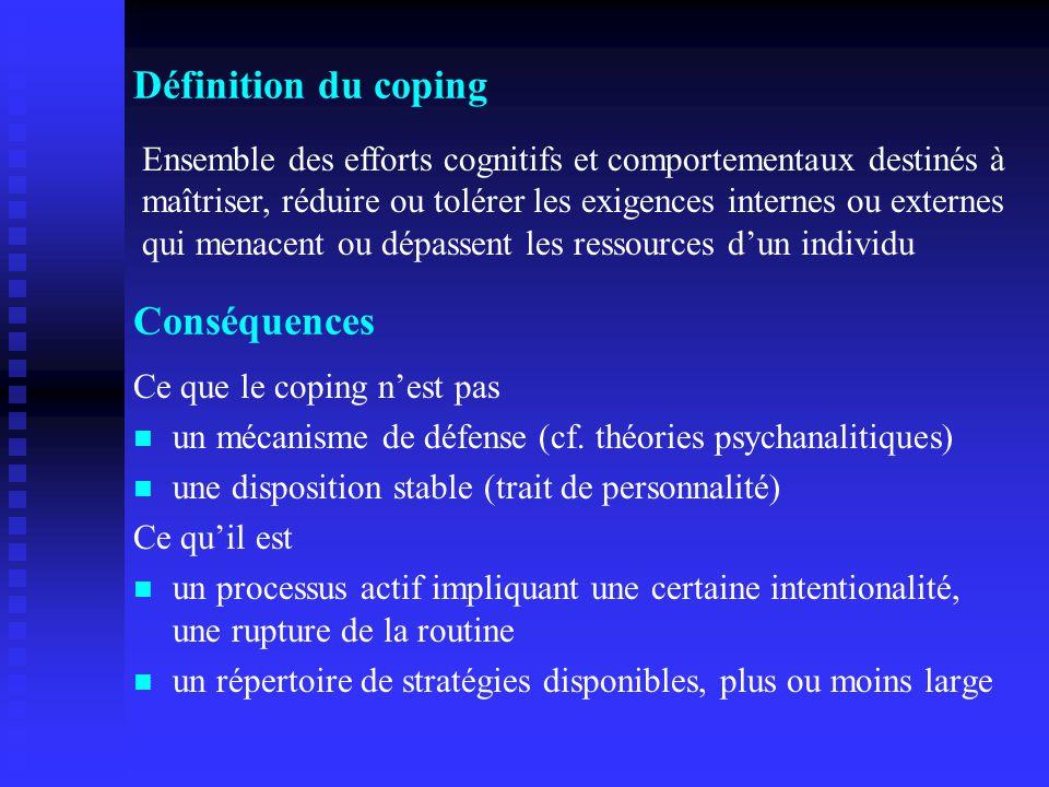 Définition du coping Conséquences
