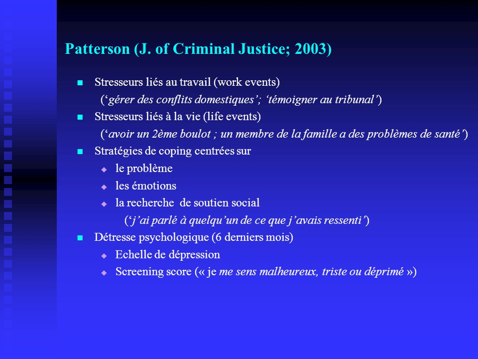 Patterson (J. of Criminal Justice; 2003)