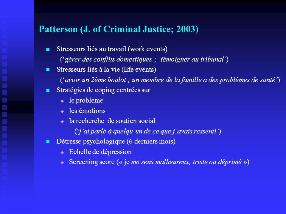 Patterson (J. of Criminal Justice; 2003)