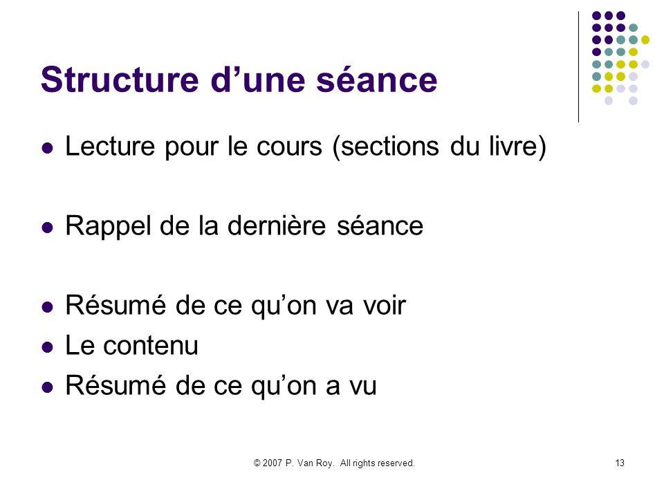 Structure d'une séance