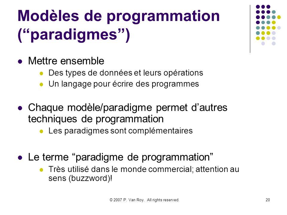 Modèles de programmation ( paradigmes )