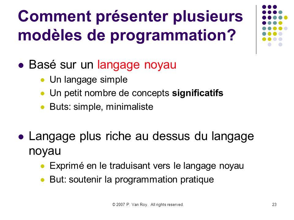 Comment présenter plusieurs modèles de programmation