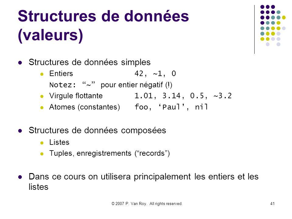 Structures de données (valeurs)