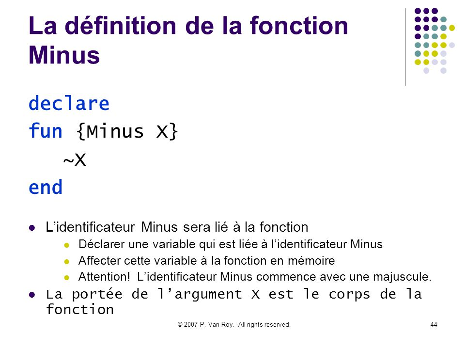 La définition de la fonction Minus