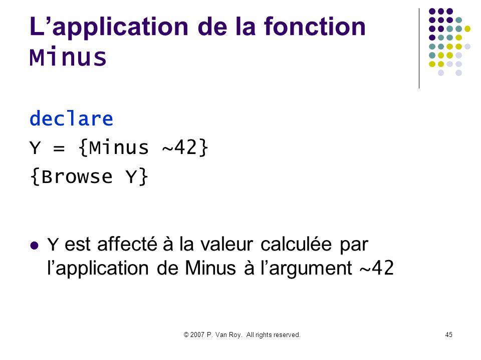 L'application de la fonction Minus