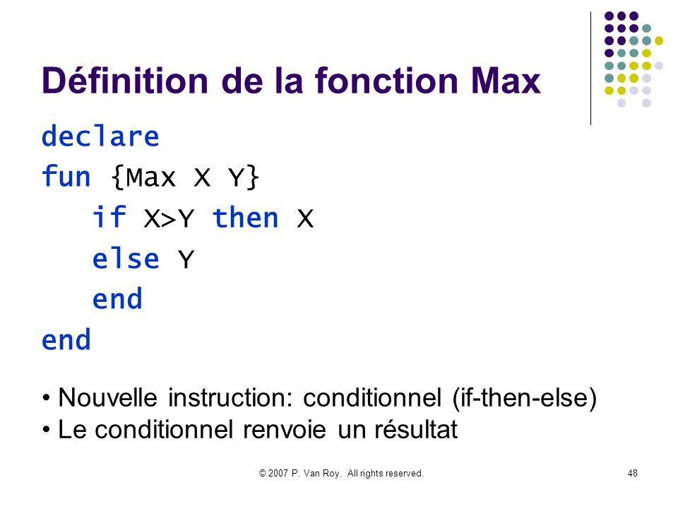 Définition de la fonction Max
