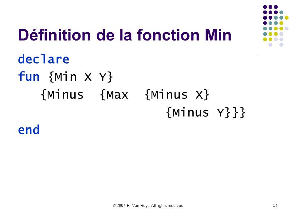 Définition de la fonction Min