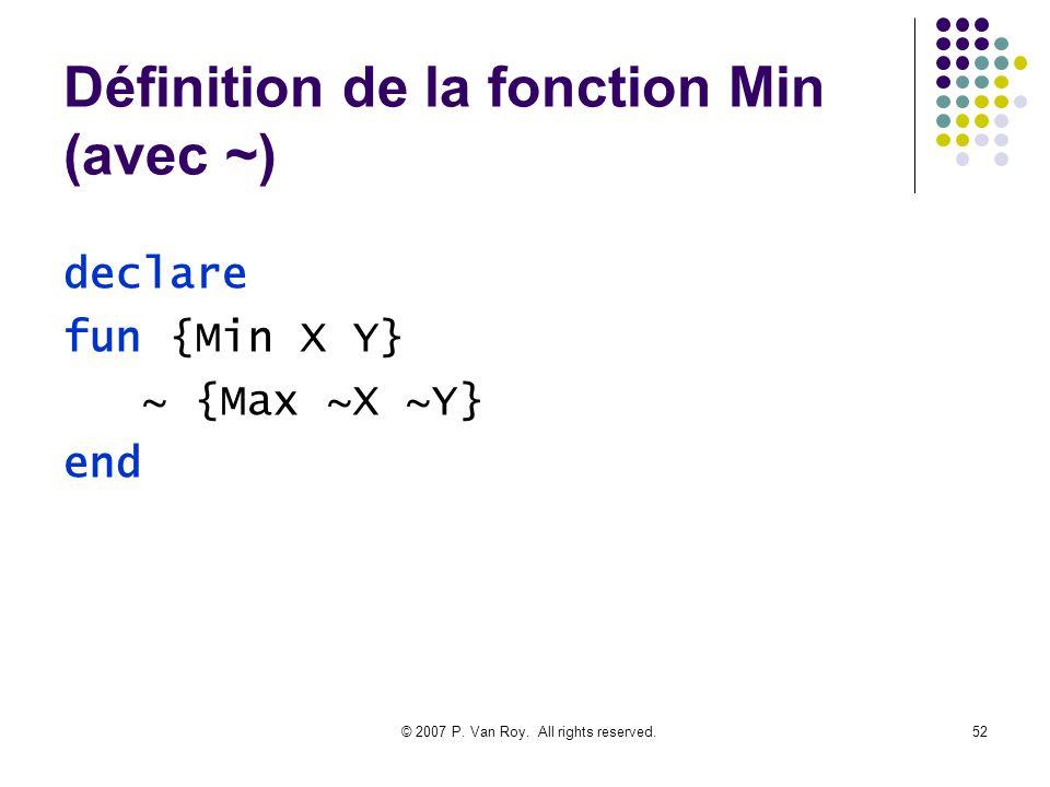 Définition de la fonction Min (avec ~)