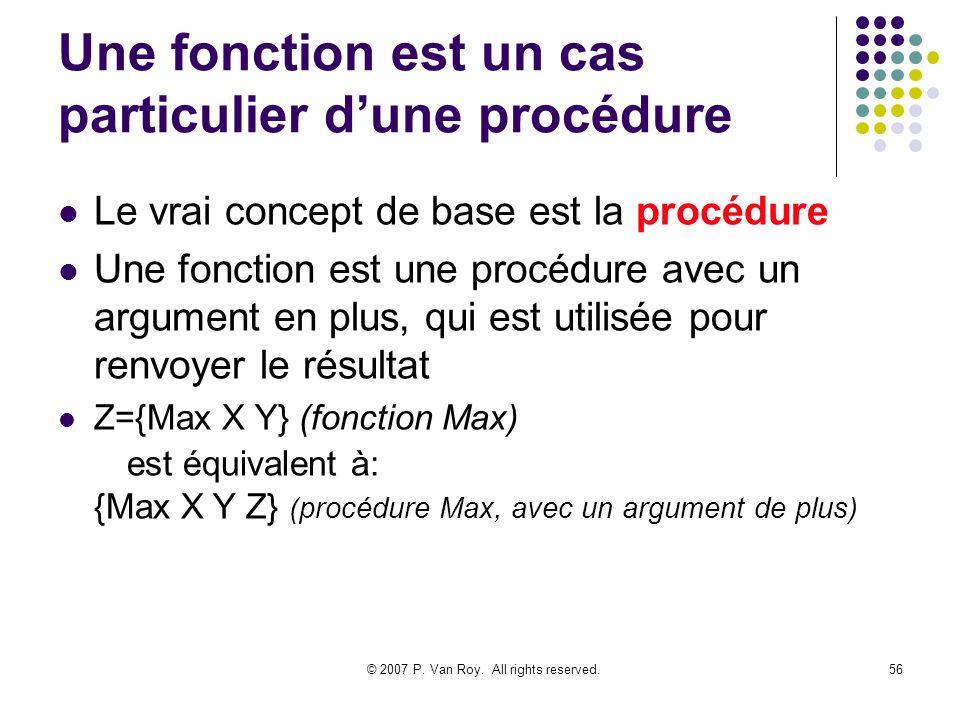 Une fonction est un cas particulier d'une procédure