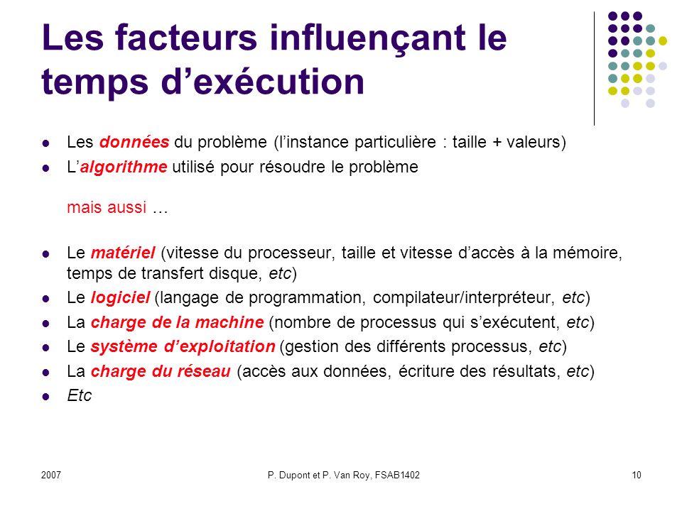 Les facteurs influençant le temps d'exécution