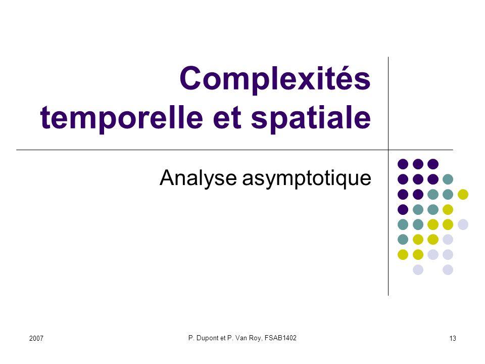 Complexités temporelle et spatiale