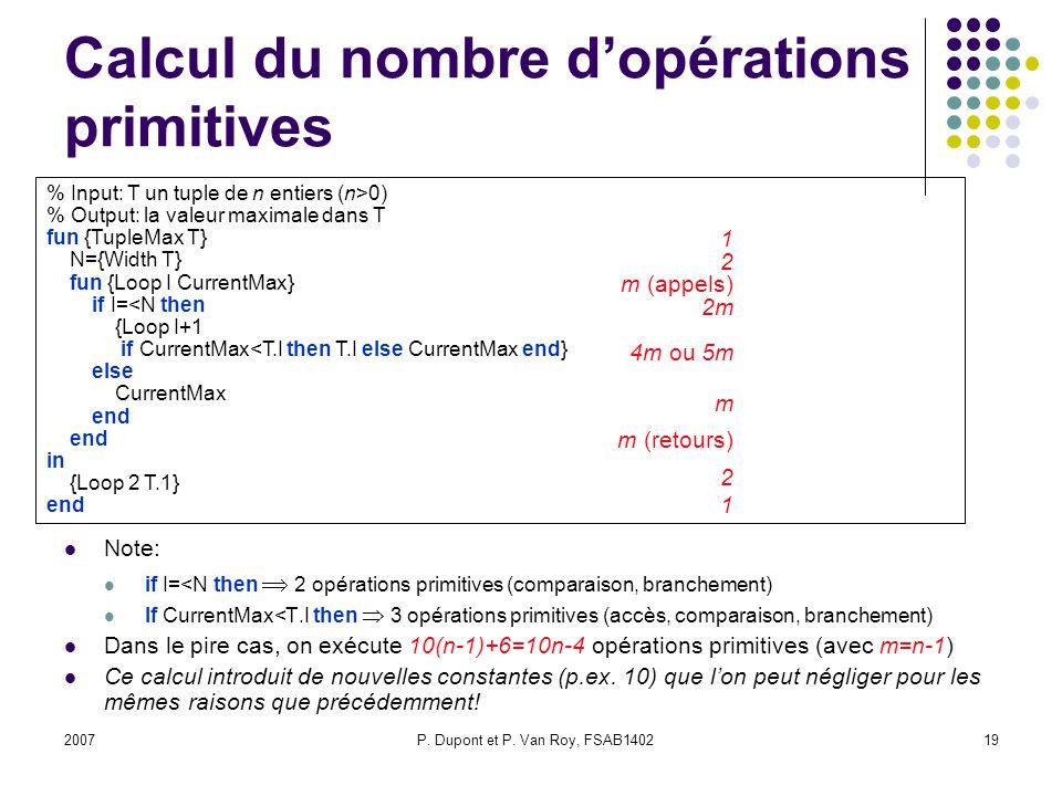 Calcul du nombre d'opérations primitives