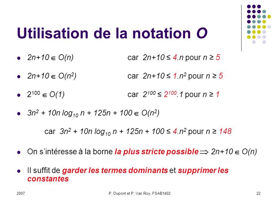 Utilisation de la notation O