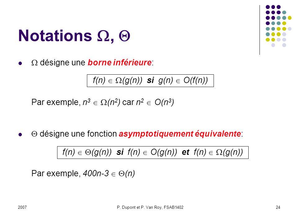 Notations ,   désigne une borne inférieure: Par exemple, n3  (n2) car n2  O(n3)