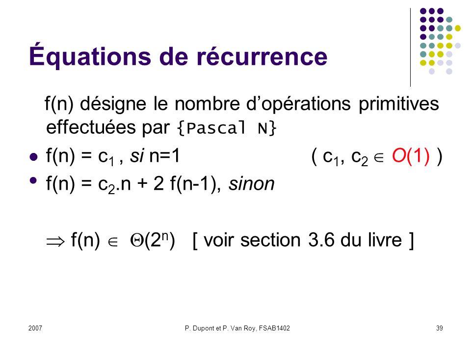 Équations de récurrence