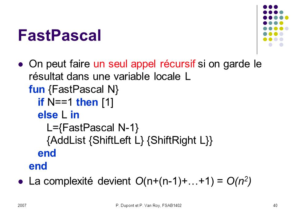 P. Dupont et P. Van Roy, FSAB1402