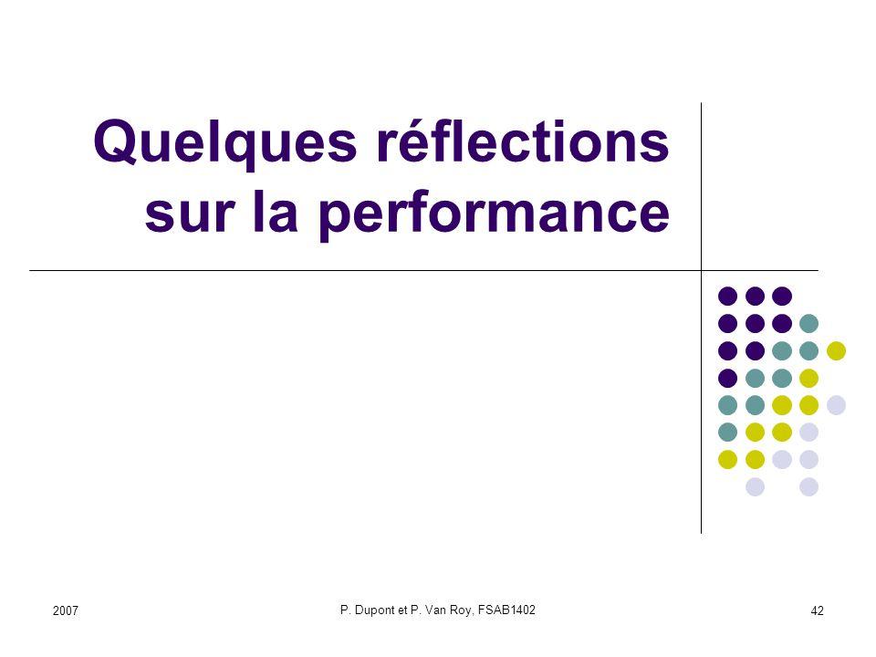 Quelques réflections sur la performance