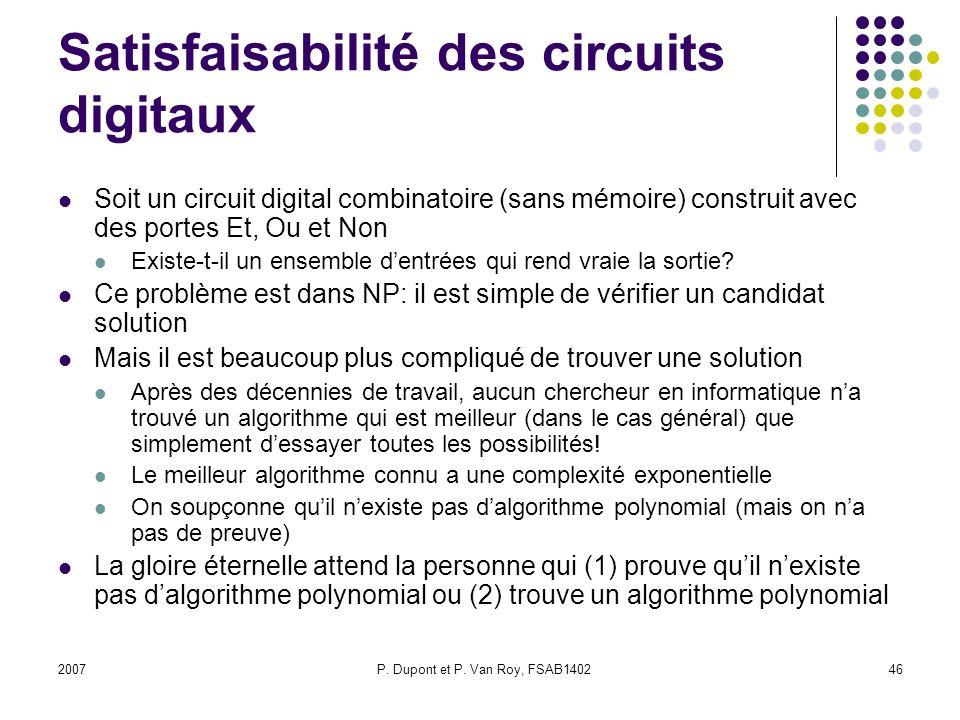 Satisfaisabilité des circuits digitaux