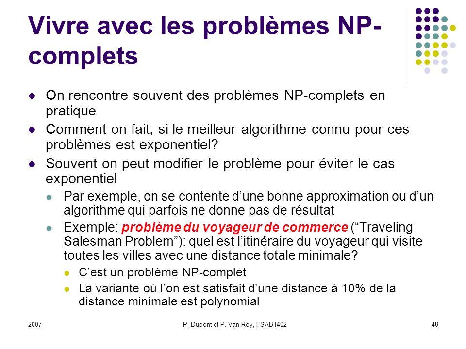 Vivre avec les problèmes NP-complets
