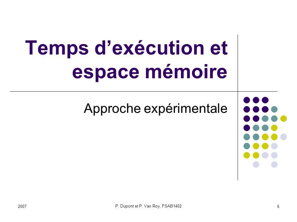 Temps d'exécution et espace mémoire