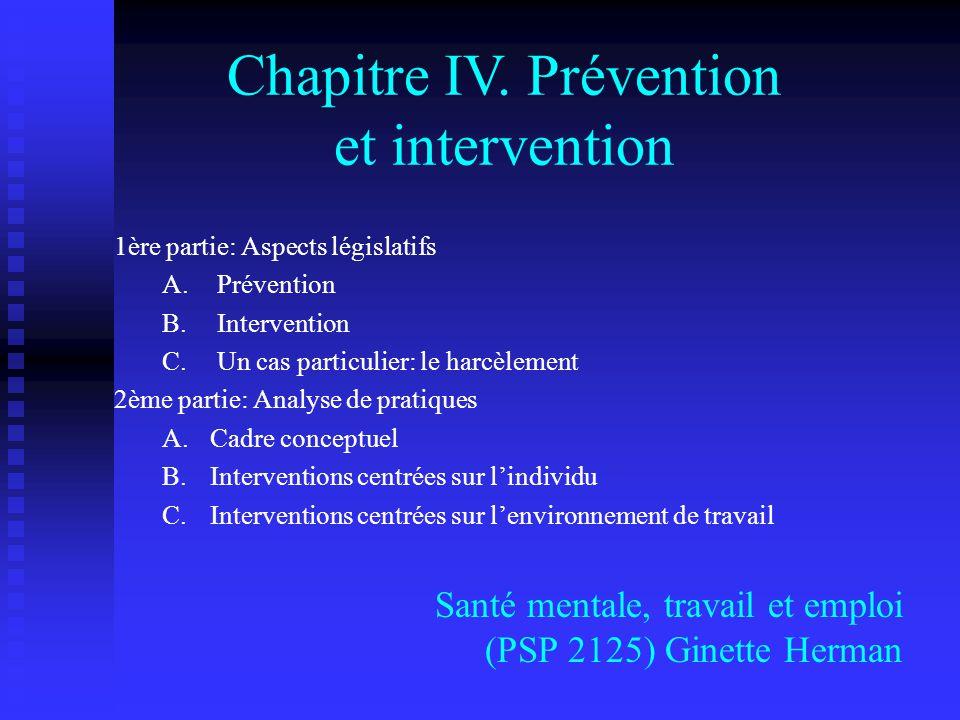 Chapitre IV. Prévention et intervention
