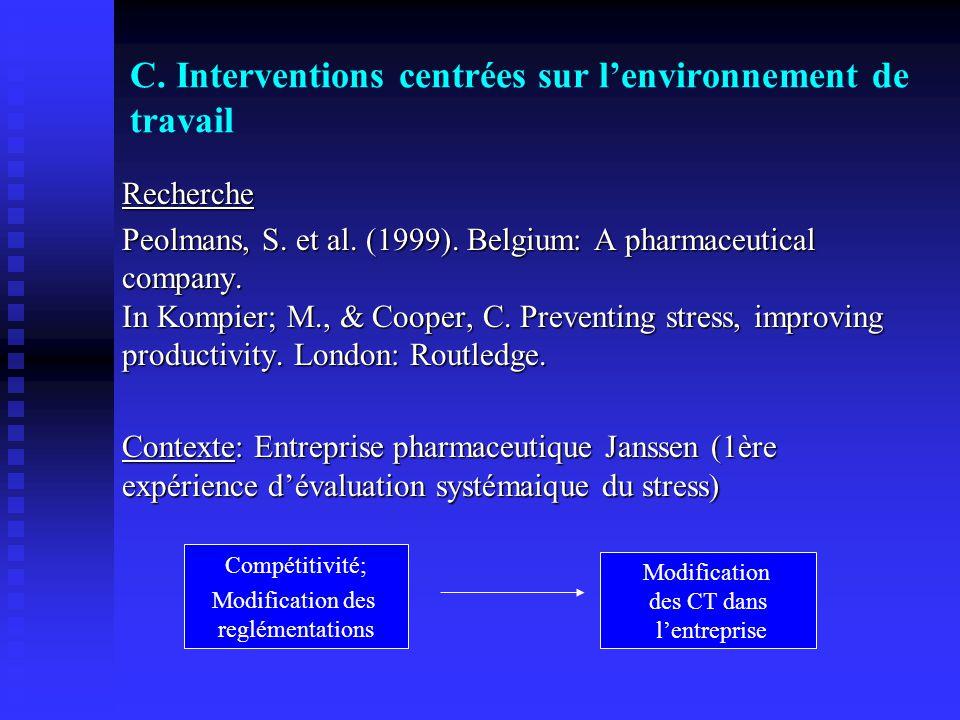C. Interventions centrées sur l'environnement de travail
