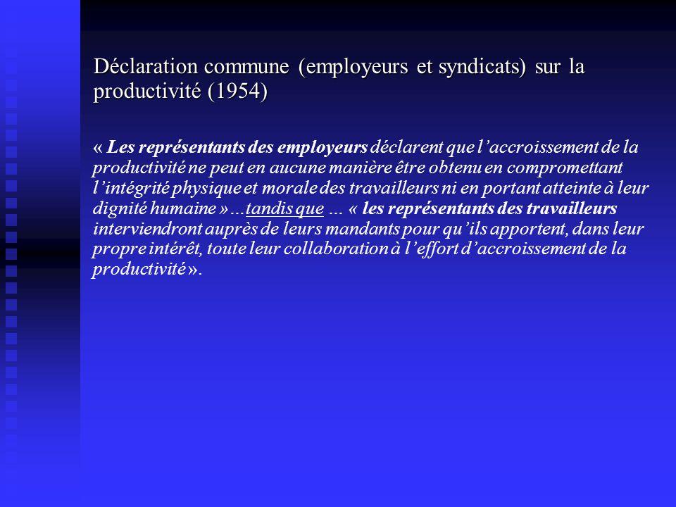 Déclaration commune (employeurs et syndicats) sur la productivité (1954)