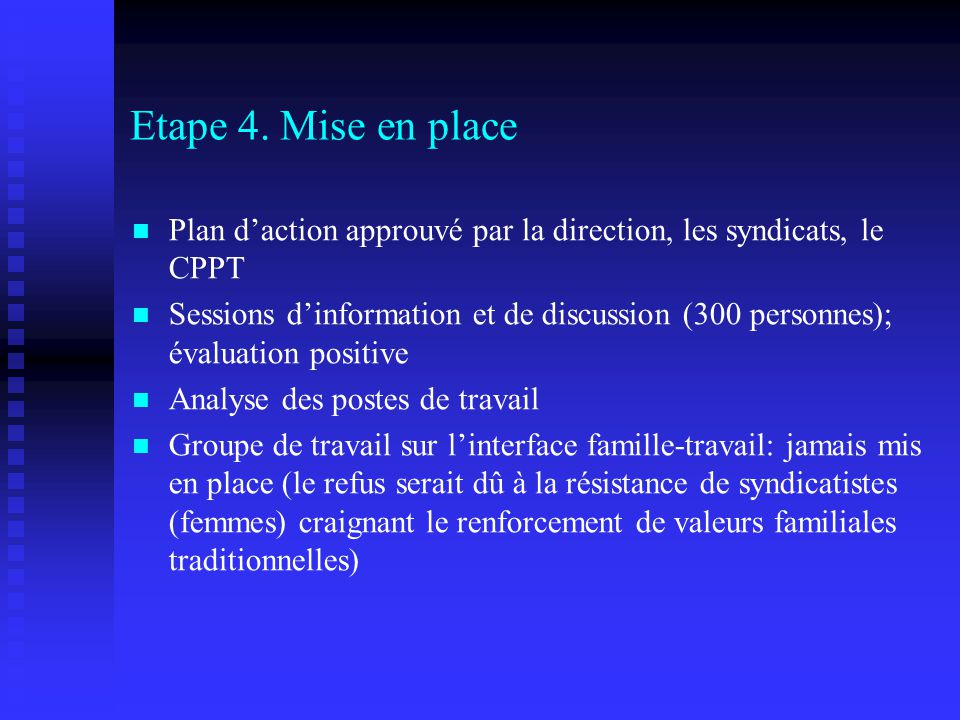 Etape 4. Mise en place Plan d'action approuvé par la direction, les syndicats, le CPPT.
