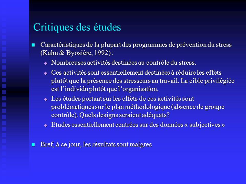 Critiques des études Caractéristiques de la plupart des programmes de prévention du stress (Kahn & Byosière, 1992) :