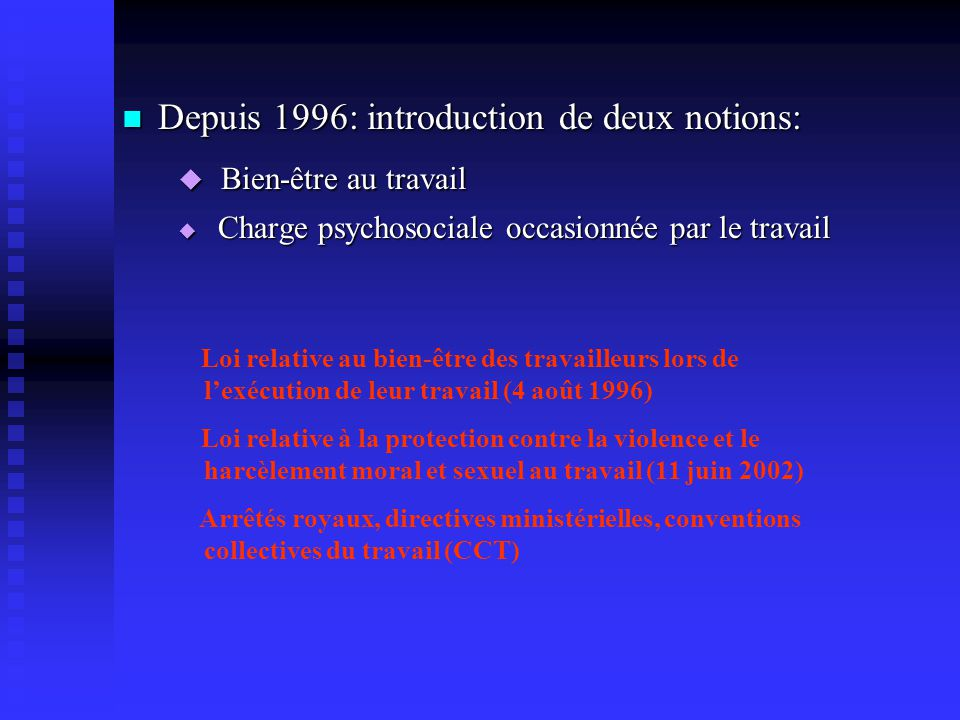 Bien-être au travail Depuis 1996: introduction de deux notions: