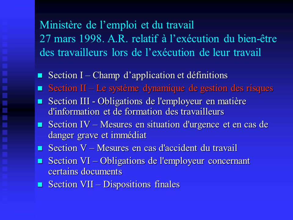 Ministère de l'emploi et du travail 27 mars 1998. A. R
