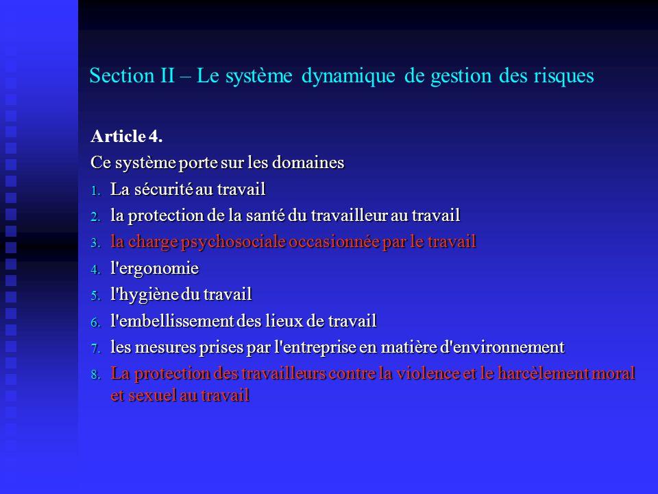 Section II – Le système dynamique de gestion des risques