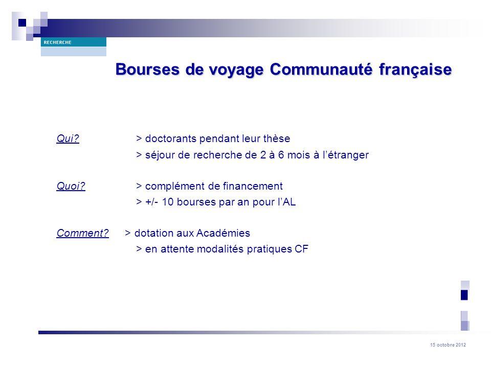 Bourses de voyage Communauté française