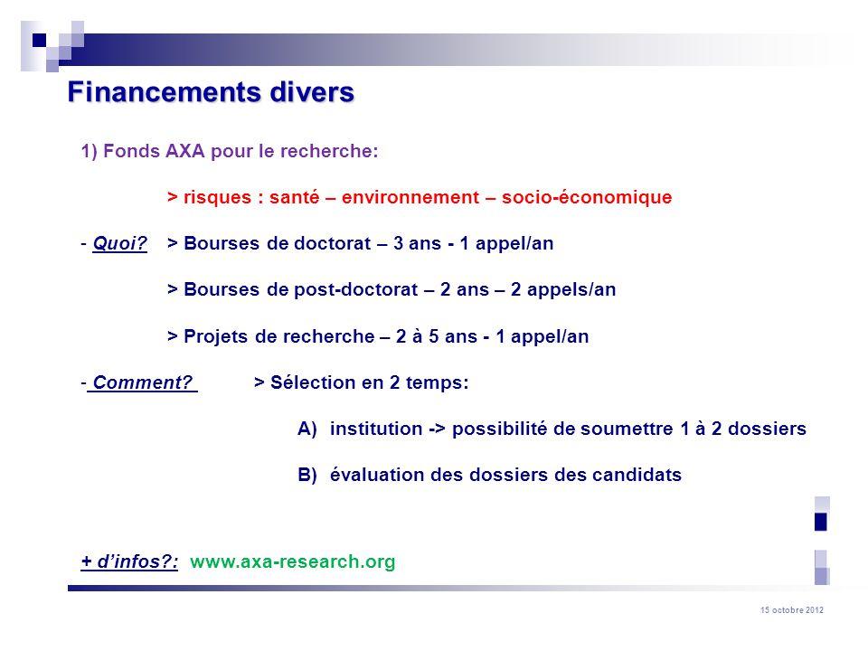 Financements divers 1) Fonds AXA pour le recherche: