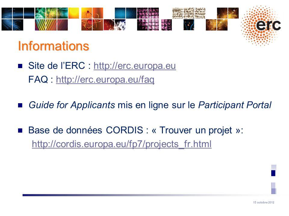 Informations Site de l'ERC : http://erc.europa.eu
