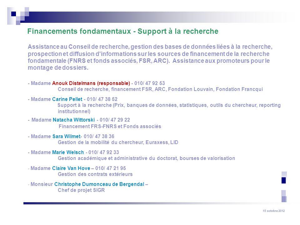 Financements fondamentaux - Support à la recherche