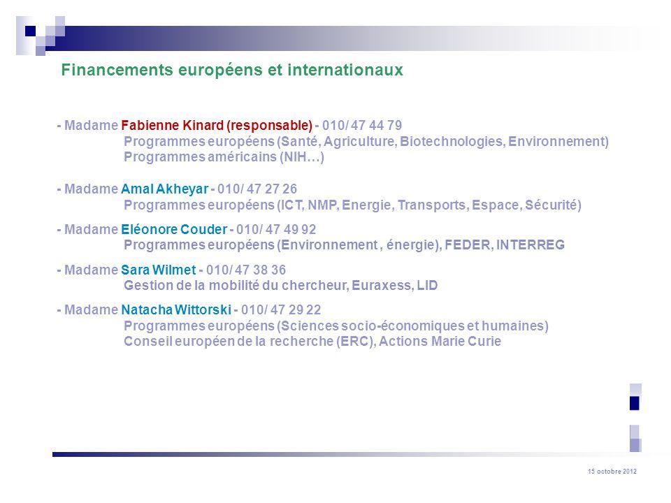 Financements européens et internationaux