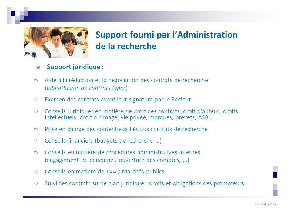 Support fourni par l'Administration de la recherche