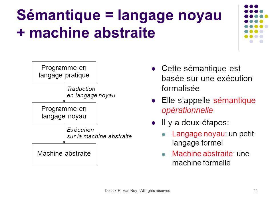 Sémantique = langage noyau + machine abstraite