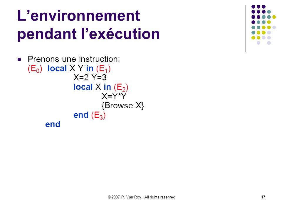 L'environnement pendant l'exécution