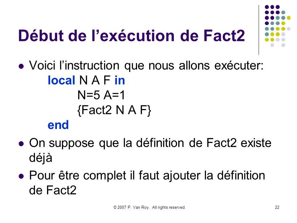 Début de l'exécution de Fact2